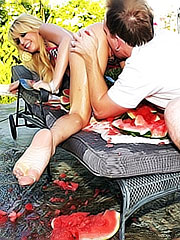 Blond Monique Alexander likes watermelons